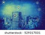 duo tone graphic of smart city... | Shutterstock . vector #529317031