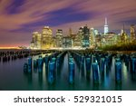 famous manhattan view at night... | Shutterstock . vector #529321015
