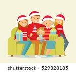 big family celebrating christmas | Shutterstock .eps vector #529328185