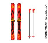 ski and sticks vector... | Shutterstock .eps vector #529332364