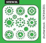 stencil. machine gear wheel... | Shutterstock .eps vector #529344301