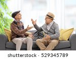Small photo of Seniors sitting on a sofa and arguing with each other