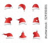 christmas various hats set in... | Shutterstock .eps vector #529350301