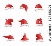 christmas various hats set in... | Shutterstock .eps vector #529350301