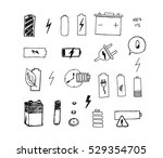 battery icons set. electronic...   Shutterstock .eps vector #529354705