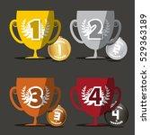 winning cups. vector medals set. | Shutterstock .eps vector #529363189