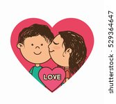couple characters with heart... | Shutterstock .eps vector #529364647
