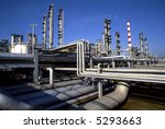 Wide perspective of a refinery plant. - stock photo