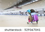 airport luggage trolley with... | Shutterstock . vector #529367041