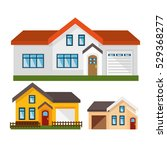 house exterior set icons | Shutterstock .eps vector #529368277