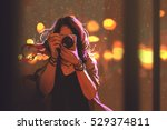 painting of woman with camera... | Shutterstock . vector #529374811