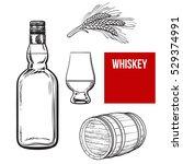 set of hand drawn whiskey... | Shutterstock .eps vector #529374991