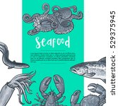 seafood sketch style vintage... | Shutterstock .eps vector #529375945