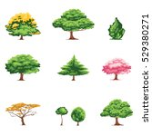 illustration of tree set vector | Shutterstock .eps vector #529380271
