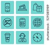 set of 9 transportation icons.... | Shutterstock .eps vector #529385989