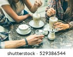 multiracial group of friends at ... | Shutterstock . vector #529386544