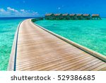 beautiful water villas in... | Shutterstock . vector #529386685