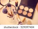 professional makeup brushes and ... | Shutterstock . vector #529397404