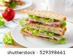sandwich for breakfast stuffed...   Shutterstock . vector #529398661