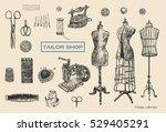 vintage tailor shop. tailor... | Shutterstock .eps vector #529405291