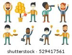 investor watering money tree.... | Shutterstock .eps vector #529417561