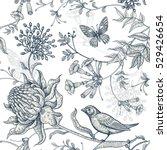 exotic flowers  butterflies and ... | Shutterstock .eps vector #529426654