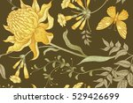 exotic flowers and butterflies. ... | Shutterstock .eps vector #529426699