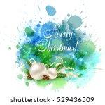 christmas watercolor background ... | Shutterstock .eps vector #529436509