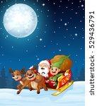 santa and elf cartoon a riding... | Shutterstock . vector #529436791