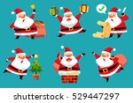 set of christmas santa claus in ... | Shutterstock .eps vector #529447297