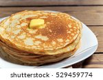 a stack of fresh crepes with... | Shutterstock . vector #529459774