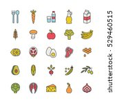 set of minimalistic food icons | Shutterstock .eps vector #529460515