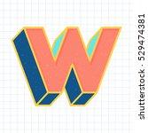 w letter vintage 3d font  retro ... | Shutterstock .eps vector #529474381