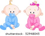 two adorable babies   the girl... | Shutterstock .eps vector #52948045