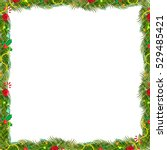 bow borders fir tree branches... | Shutterstock .eps vector #529485421