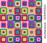 granny squares pattern and... | Shutterstock .eps vector #529495321