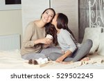mom and daughter secretive. mom ... | Shutterstock . vector #529502245