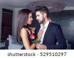 young man give rose to lover... | Shutterstock . vector #529510297