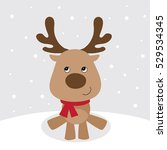 christmas card with cute... | Shutterstock .eps vector #529534345