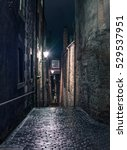 Narrow Dark Alleyway In...