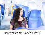 brunette lady with long curly... | Shutterstock . vector #529544941