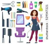 set of hairdresser and barber... | Shutterstock .eps vector #529547221