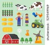 vector flat style farming set.... | Shutterstock .eps vector #529549969