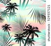 tropical summer palms seamless... | Shutterstock .eps vector #529557121