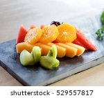 fruit plate on slate | Shutterstock . vector #529557817