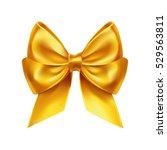 golden bow decoration on white. ... | Shutterstock .eps vector #529563811