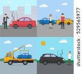 car crash set. different... | Shutterstock .eps vector #529565977
