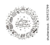merry christmas card with hand... | Shutterstock .eps vector #529572799