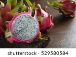 healthy dragon fruits on rough...   Shutterstock . vector #529580584