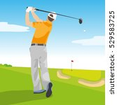 golfer hitting golf shot with... | Shutterstock .eps vector #529583725